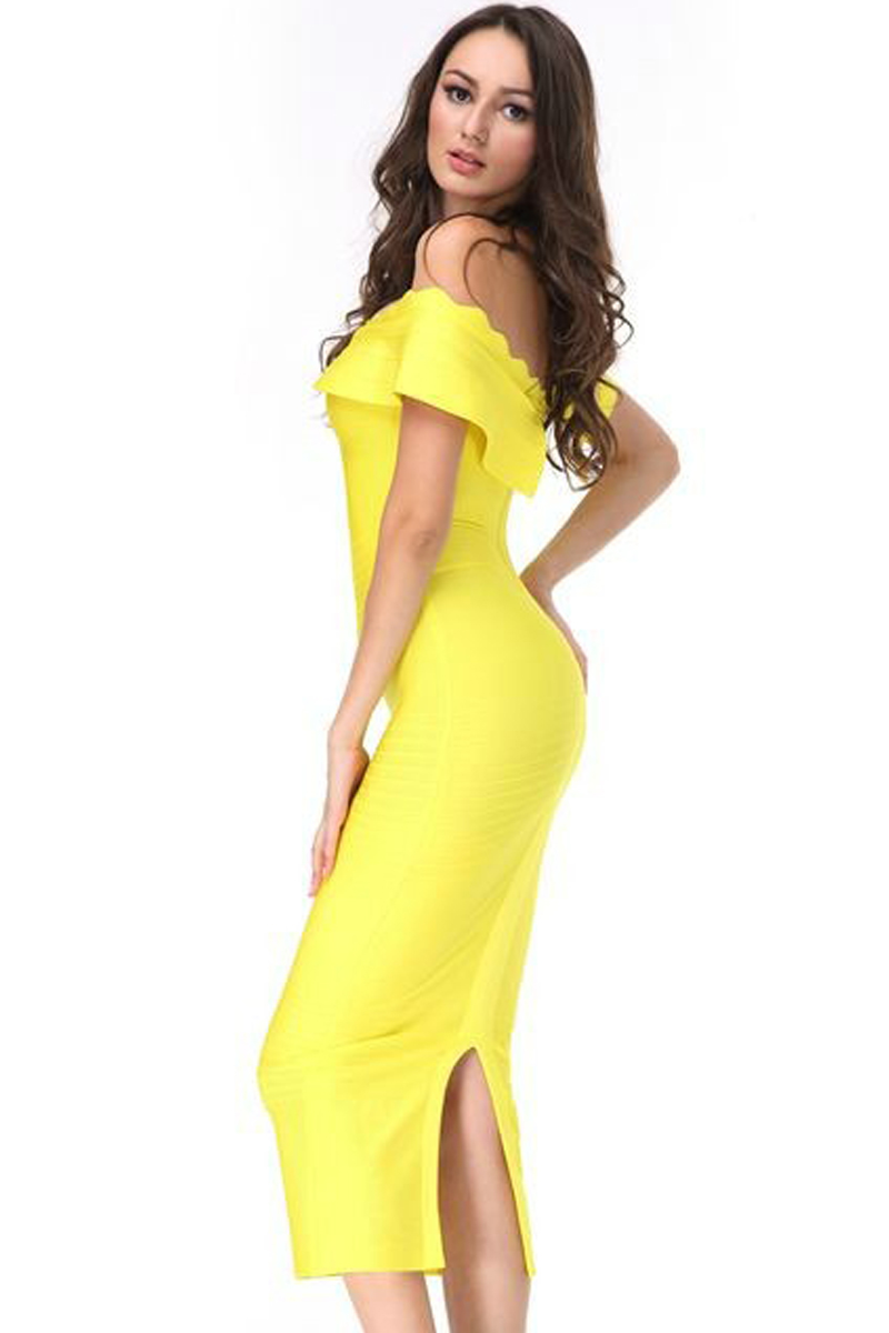 edc041b57999 Elegant Off Shoulder Shortsleeve Maxi Yellow Ruffled – Charming Wear