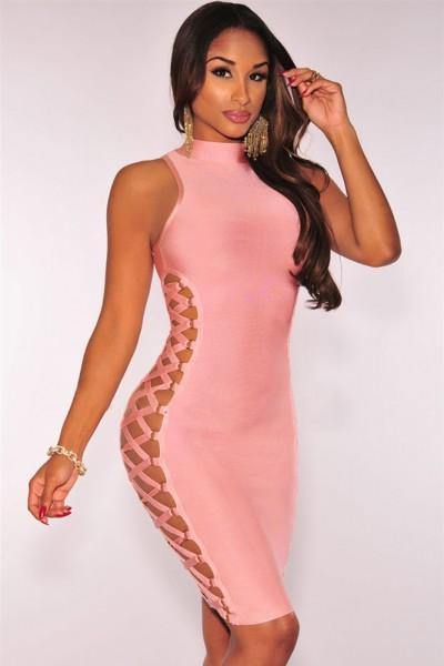 Pink Lace up Contour Bandage Dress