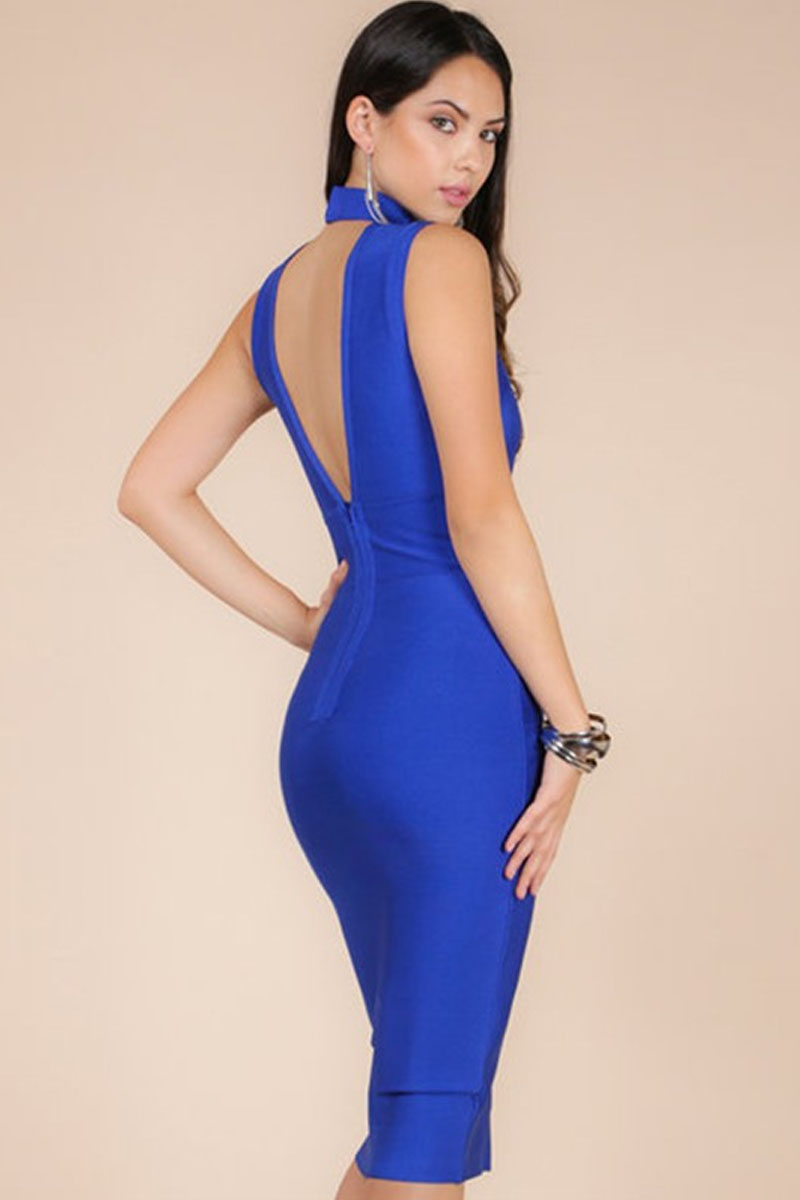Blue Dress With Chain Details