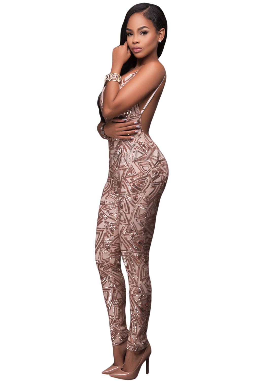 f172c107288 Rose Gold Sleeveless V Neck Sequins Jumpsuit – Charming Wear