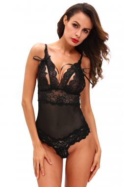 Black Scalloped Lace Teddy Lingerie.