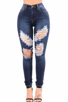 Blue Denim Wash Ripped Cutout Skinny Jeans