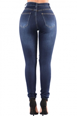 Blue Denim Wash Ripped Cutout Skinny Jeans