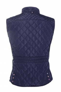 Blue Cotton Quilted Vest Coat