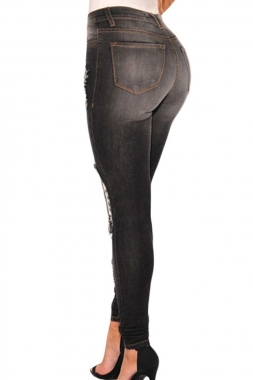 Charcoal Denim Destroyed Skinny Jeans