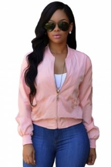 Pink Cropped Bomber Jacket