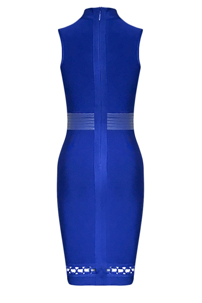 Blue High Neck Sleeveless Cut Out Leather Belt