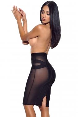 black sheer mesh midi bandage skirt charming wear