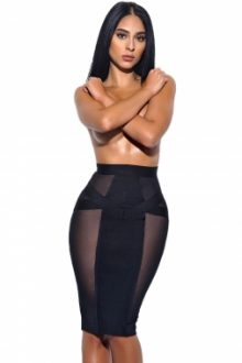 Black Sheer Mesh Midi Bandage Skirt