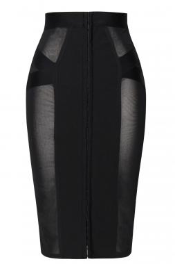 0c774e0ba7 Black Sheer Mesh Midi Bandage Skirt – Charming Wear
