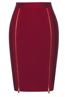 8350c17891 Burgundy Double Zip Slit High Waist Bandage Skirt – Charming Wear