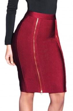 Burgundy Double Zip Slit High Waist Bandage Skirt