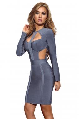 Blue Cutout Bodice Bandage Dress