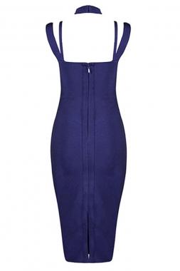 Navy Blue Cut Out Off Shoulder Bandage Dress