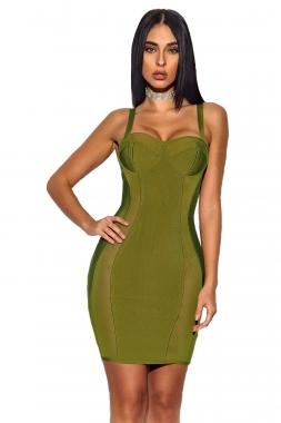 Olive Bustier Sheath Bandage Dress