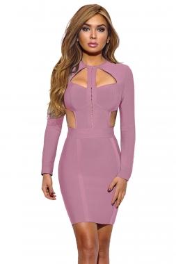 Pink Cutout Bodice Bandage Dress