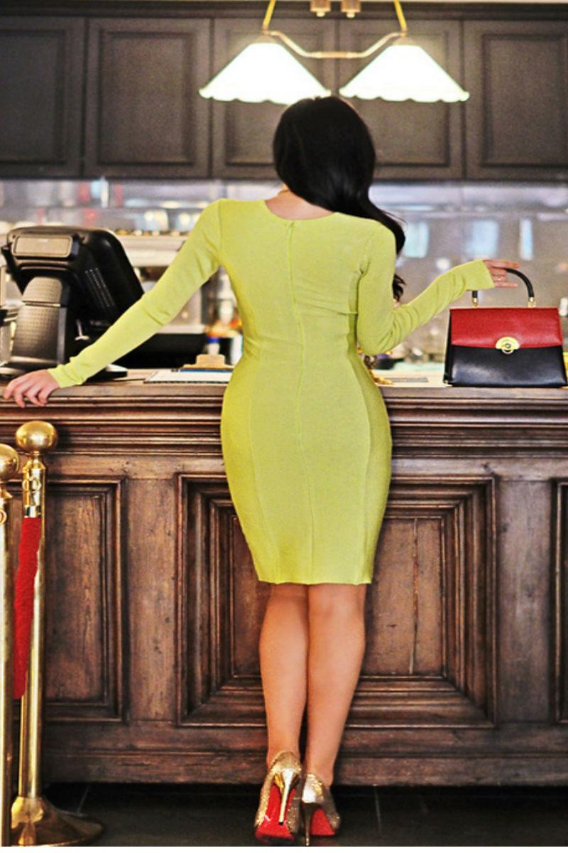 Green Long Sleeve Bandage Dress