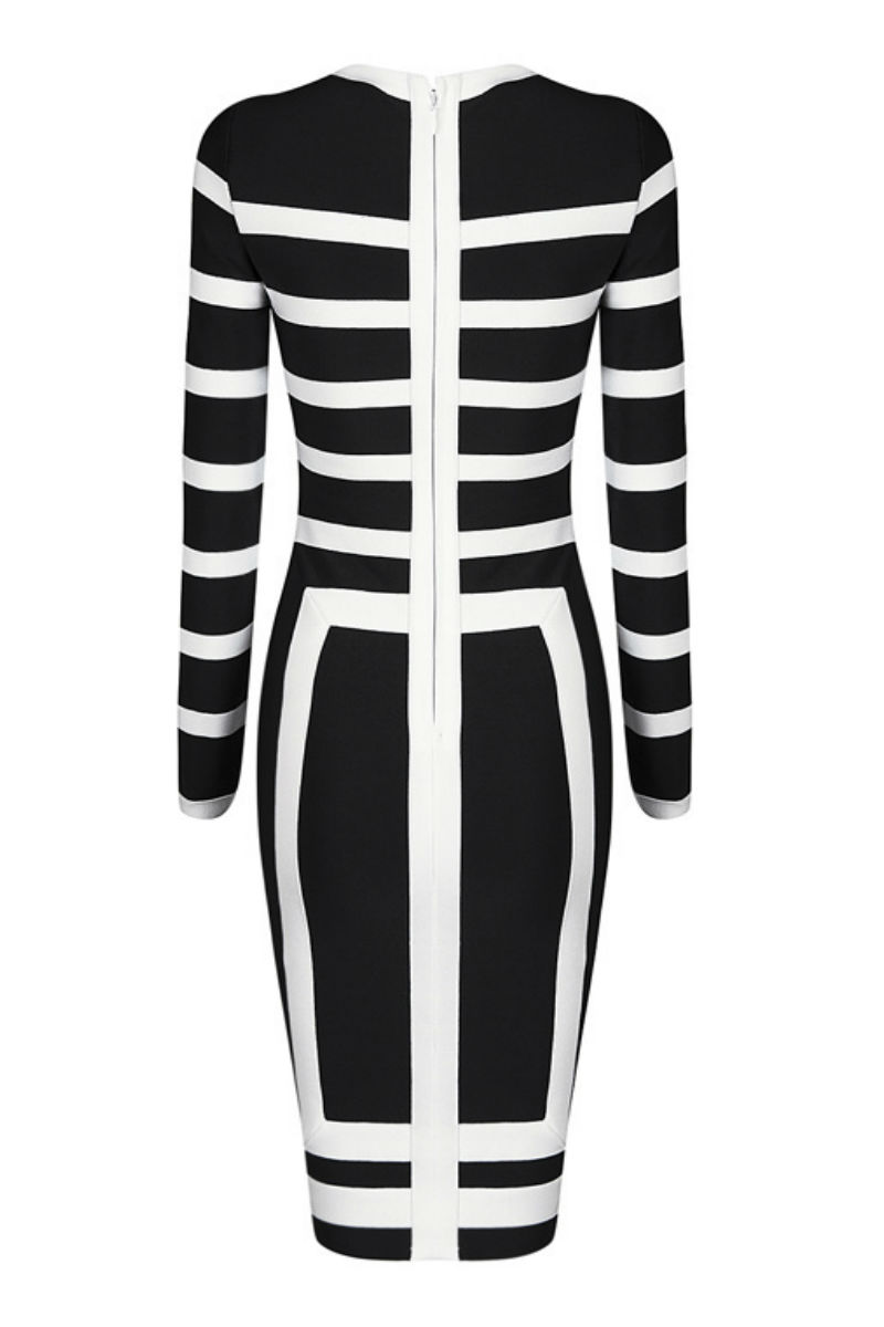 Black White Round Neck Midi Dress