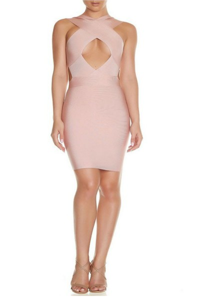 Pink Cross Bust Bandage Dress