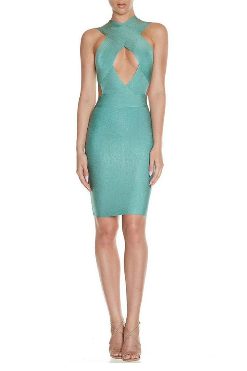 Green Cross Bust Bandage Dress