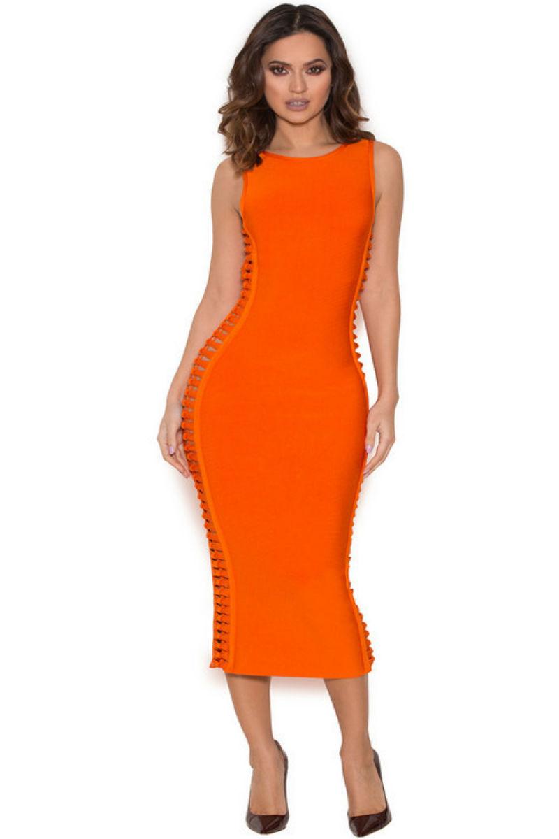 Orange Side Weave Cutouts Midi Bandage Dress