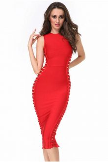 Red Side Weave Cutouts Midi Bandage Dress