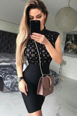 Black Beaded See-through Bandage Dress
