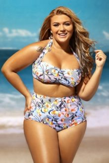 Cheery Print Ruched Top High Waist Swimsuit