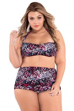 Galaxy Print Ruched Top High Waist Swimsuit