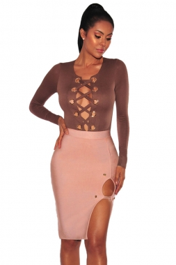 Latter Gold Button Slit Bandage Skirt