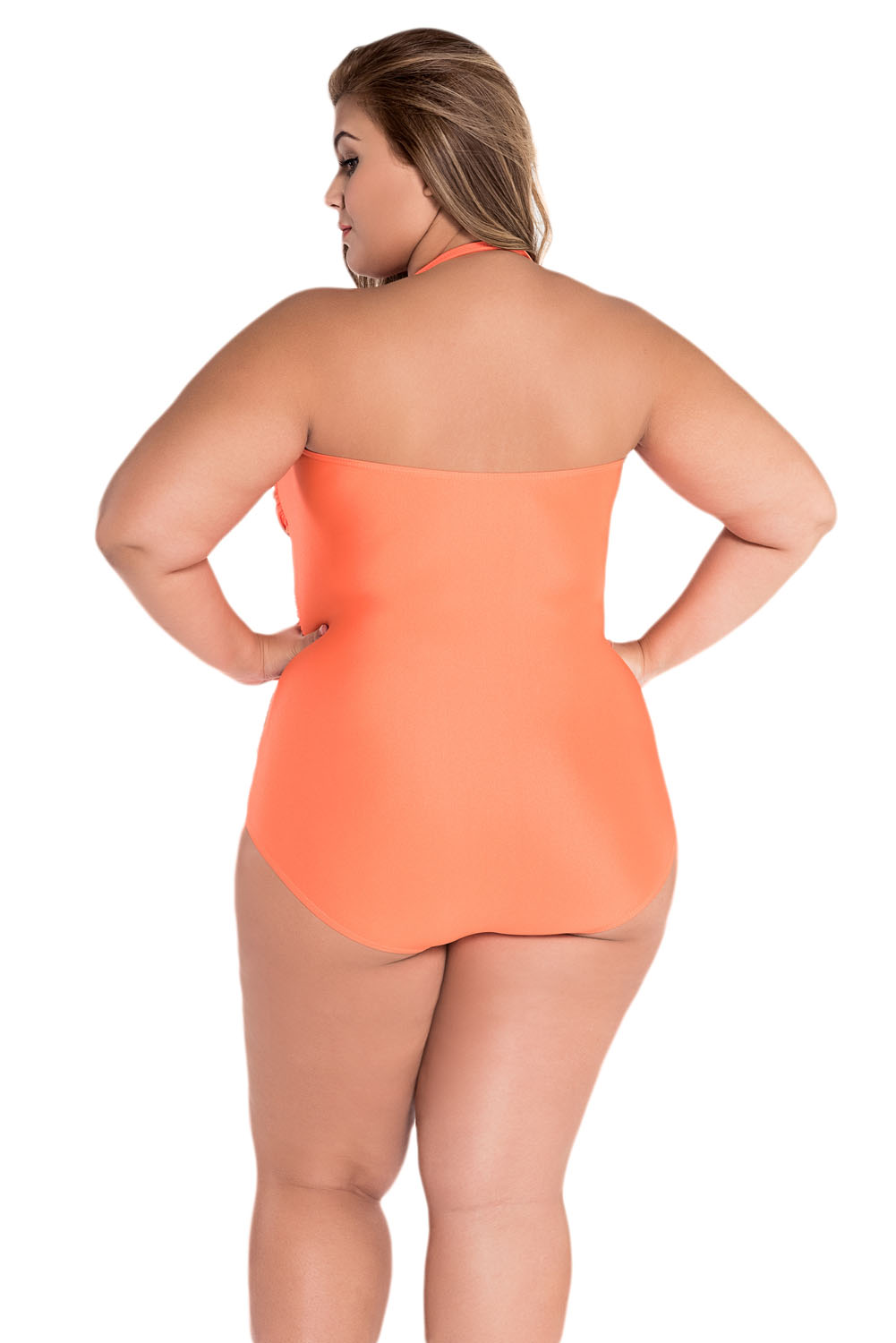 Orange Sweetheart Ruched Swimsuit