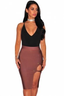 Peach Gold Button Slit Bandage Skirt