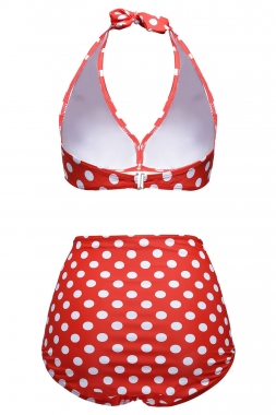 Red White Polka Dot Halter Bikini Swimsuit
