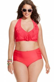 Rosy Fringed Halter Bikini High Waist Swimsuit