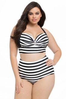 Striped Print Curvy High Waist Bikini Swimsuit