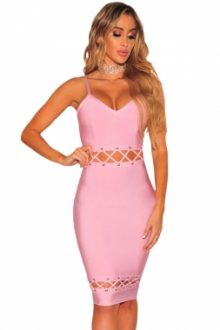 Pink Bandage Lace Up Sleeveless Dress