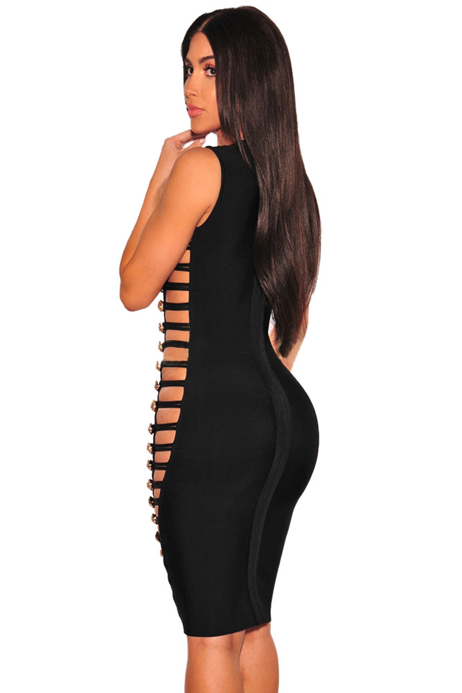 Black Bandage Gold Button Cut Out Sides Dress