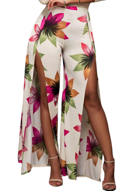 Floral Print Slit Leg Pants