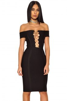 Gold Chain Crisscross Lace up Black Bandage Dress