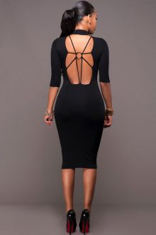 Black Mid Sleeve Open Back