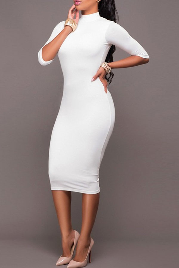 White Mid Sleeve Open Back