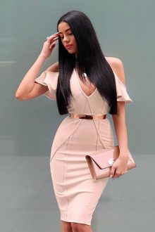 Nude V Neck Cap Sleeve Mini Fashion