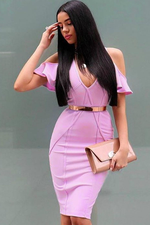 Pink V Neck Cap Sleeve Mini Elegant