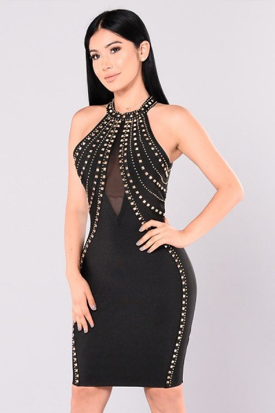 Black Halter Sleeveless Mini Metal Studded