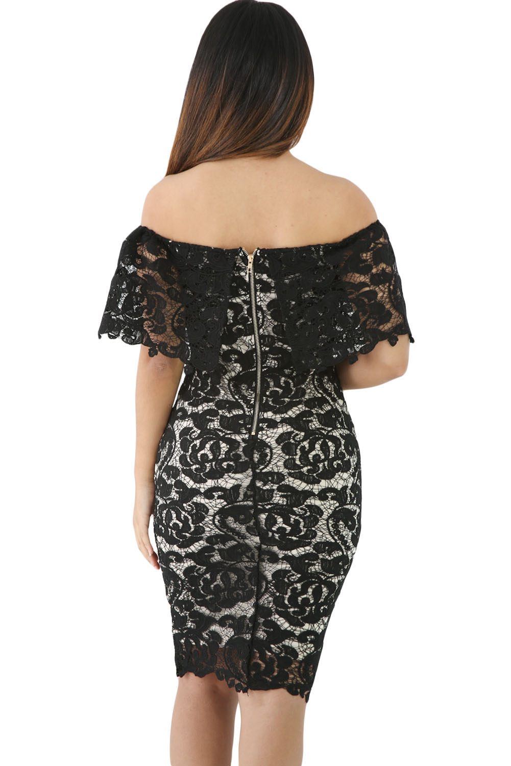 Black Lace Off Shoulder Bodycon Dress