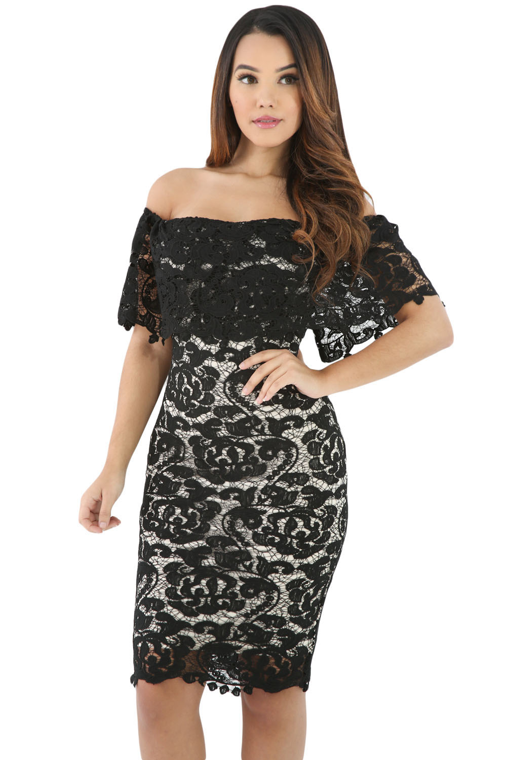 f4c1e7ae9c63 Black Lace Off Shoulder Bodycon Dress – Charming Wear