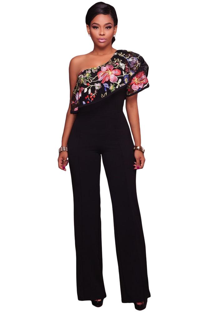 Black One Shoulder Ruffle Jumpsuit