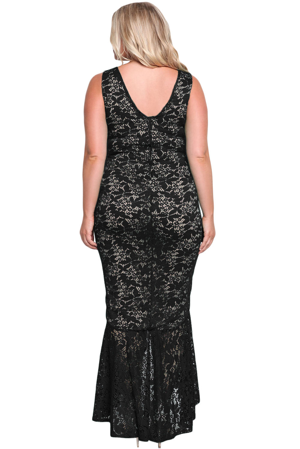 Black Plus Size Floral Lace Ruffle Mermaid Maxi Gown