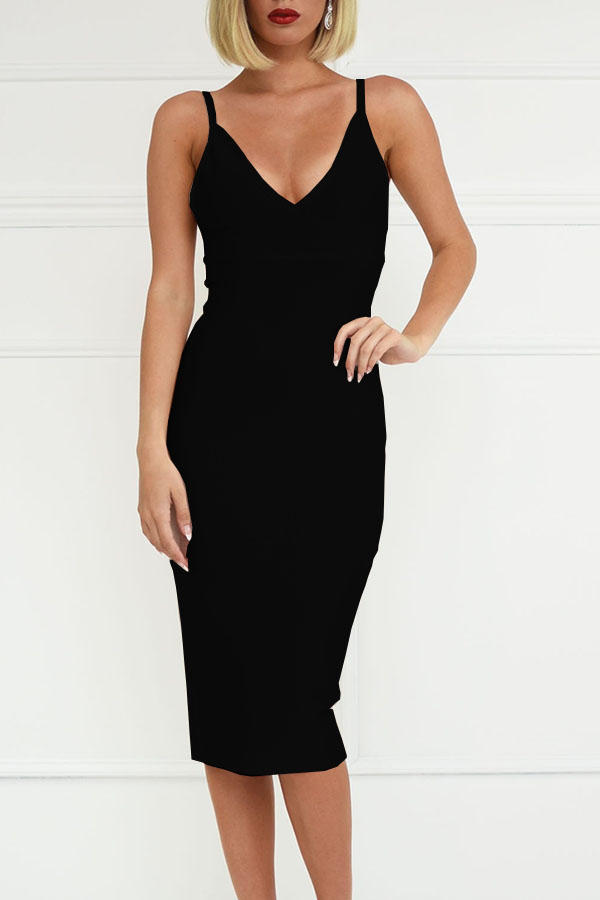 Black V Neck Open Back Bandage Dress