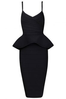 Black Strappy 2 Pieces Peplum Bandage Dress